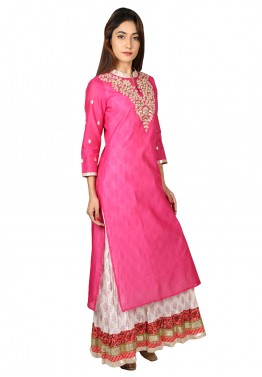White Cotton Dress With Pink Long Kurti