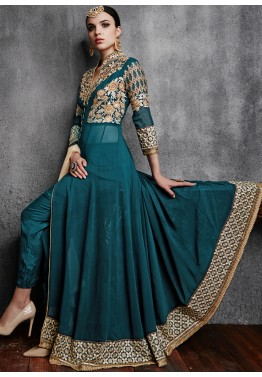 Buy Green Georgette Pant Style Anarkali Indian Salwar Kameez Online