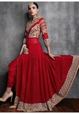 Red Georgette Anarkali Salwar Kameez with Pant