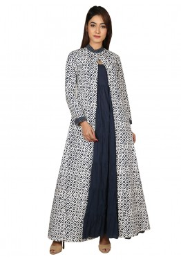 Black Cotton Dress With Printed Jacket