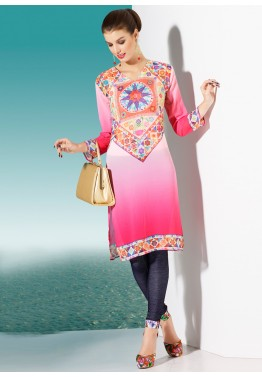 Shaded Pink Georgette Readymade Kurti