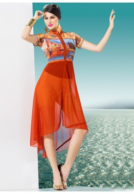 Multicolor and Orange Georgette Readymade Tunic