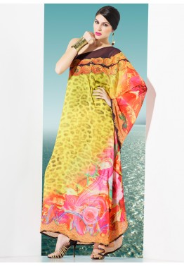 Yellow Georgette Readymade Kaftan