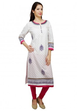 White Cotton Readymade Long Kurta