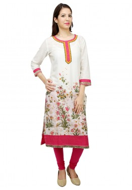 Off White Cotton Readymade Long Kurta
