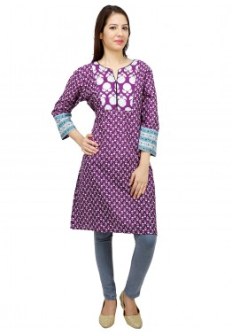Purple and White Cotton Readymade Kurti