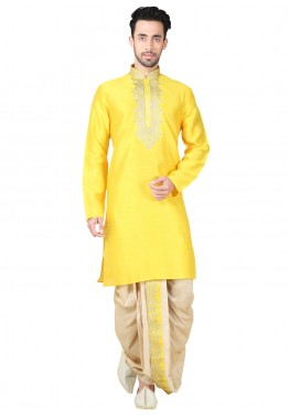Readymade Yellow Art Silk Dhoti Kurta Set