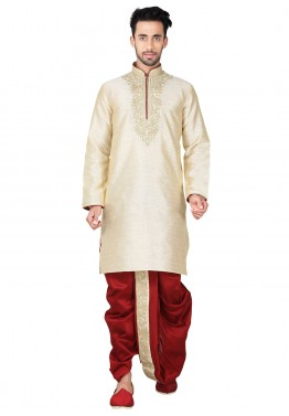 Readymade Cream Art Silk Dhoti Kurta Set