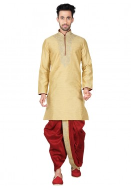 Indian Wedding Clothes for Men: Buy Readymade Beige Art Silk Dhoti Kurta Set Online