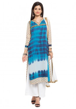 Readymade Blue Printed Georgette Palazzo Suit