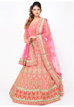 Pink Pure Silk Bridal Lehenga Choli with Dupatta