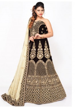 Dark Brown Velvet Bridal Lehenga Choli with Dupatta
