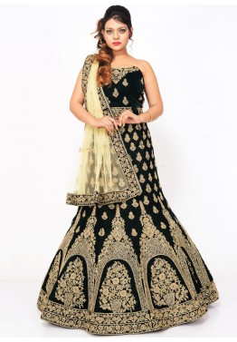 Dark Green Velvet Bridal Lehenga Choli with Dupatta