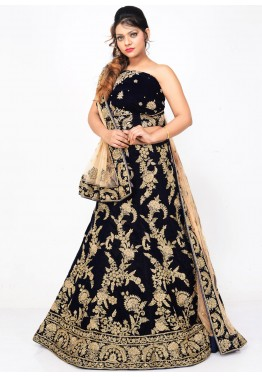 Dark Blue Velvet Bridal Lehenga Choli with Dupatta
