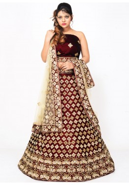 Maroon Velvet Bridal Lehenga Choli with Dupatta