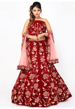 Red Velvet Bridal Lehenga Choli with Dupatta