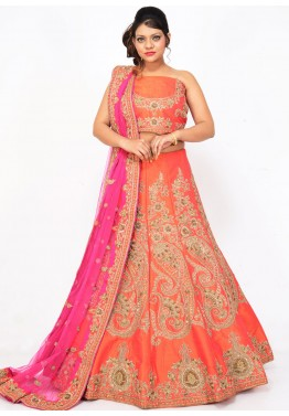 Orange Pure Silk Bridal Lehenga Choli with Dupatta
