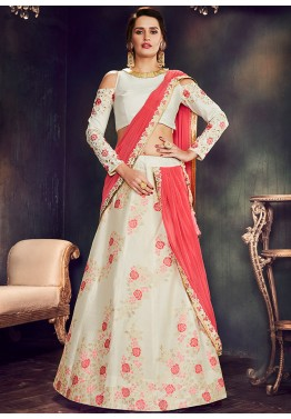 Off White Cold Shoulder Lehenga Choli with Dupatta