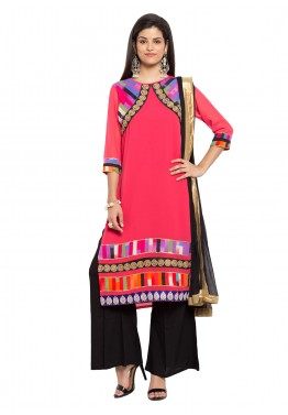 Readymade Pink Georgette Palazzo Suit