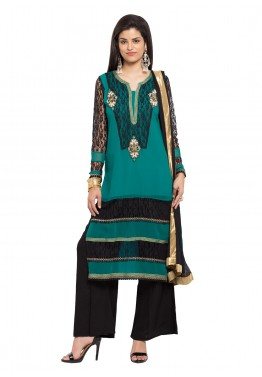 Readymade Teal Green Georgette Palazzo Suit
