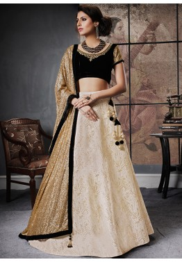 Buy Cream Net Lehenga Choli Online with Dupatta for Wedding