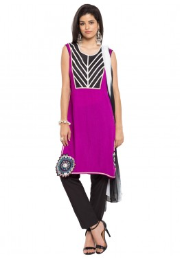 Readymade Magenta Cotton Sleeveless Pant Suit
