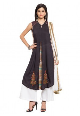 Readymade Black Sleeveless Cotton Palazzo Suit