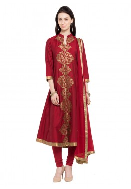 Readymade Red Cotton Silk Salwar Suit