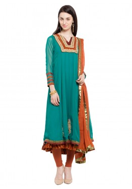 Readymade Turquoise Faux Georgette Salwar Suit