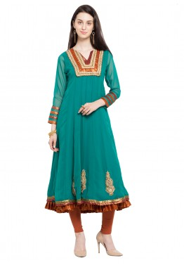 Readymade Turquoise Faux Georgette Kurta