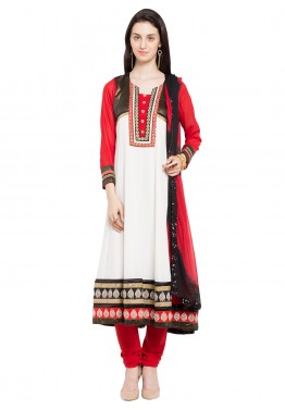 Readymade White Georgette Salwar Suit