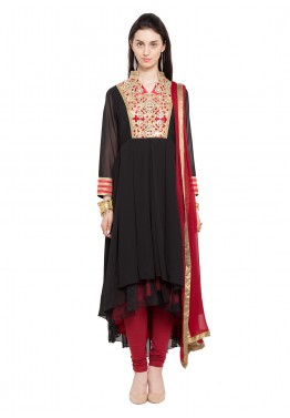 Readymade Black Asymmetrical Faux Georgette Salwar Suit