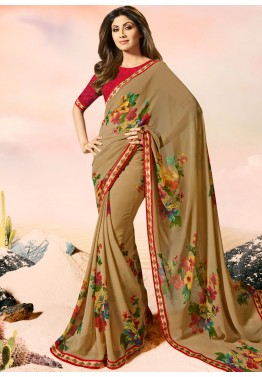 Shilpa Shetty Dark Beige Printed Georgette Saree with Blouse