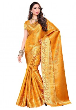 Yellow Kanchipuram Silk Saree with Blouse