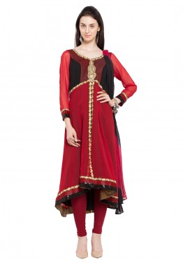 Readymade Red Asymmetrical Faux Georgette Salwar Suit
