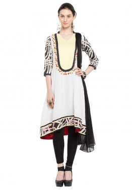 Readymade White Georgette Asymmetric Salwar Suit