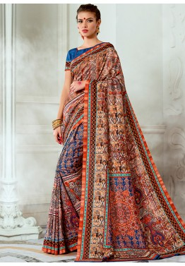 Multicolor Tussar Silk Digital Printed Saree with Blouse