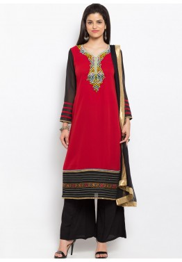 Red  Readymade Georgette Suit with Palazzo