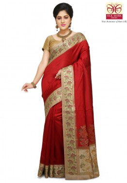 Red Pure Banarasi Silk Saree with Blouse