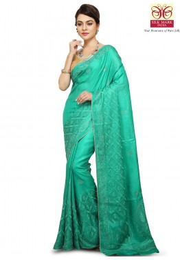 Green Pure Tussar Silk Saree with Blouse
