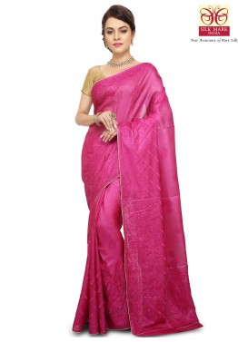 Pink Pure Tussar Silk Saree with Blouse