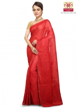 Red Pure Tussar Silk Saree with Blouse