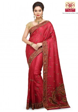 Red Tussar Indian Pure Silk Sarees Online Shopping with Blouse