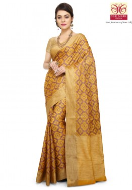 Yellow Pure Banarasi Silk Saree with Blouse