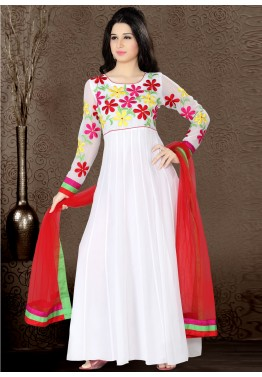 Readymade White Georgette Abaya Style Embroidered Suit
