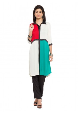 Readymade Multicolor Shirt Style Cotton Tunic
