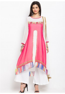 Pink Readymade Georgette Kameez With Palazzo