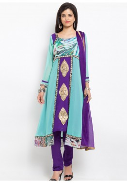 Turquoise Readymade Georgette Suit