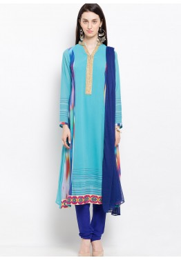 Blue Readymade Georgette Suit