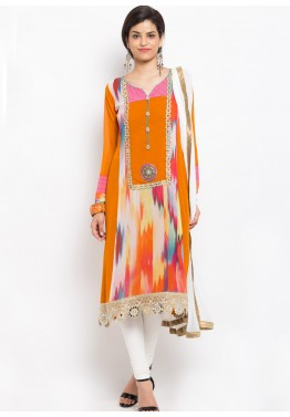 Orange Asymmetric Readymade Cotton Suit
